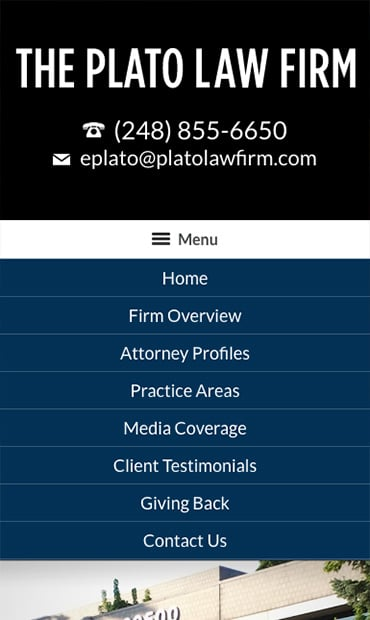 Responsive Mobile Attorney Website for The Plato Law Firm