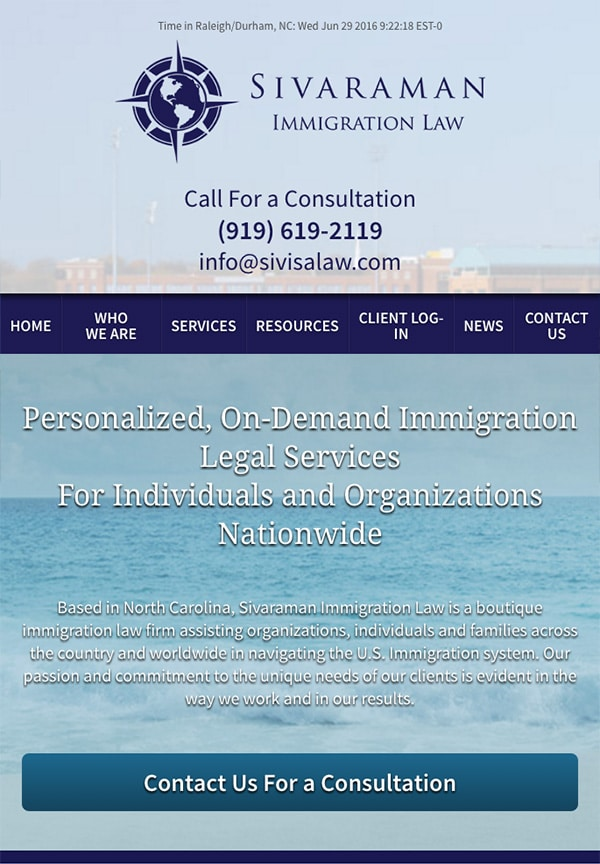 Mobile Friendly Law Firm Webiste for Sivaraman Immigration Law