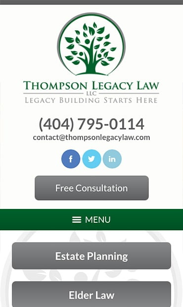 Responsive Mobile Attorney Website for Thompson Legacy Law, LLC