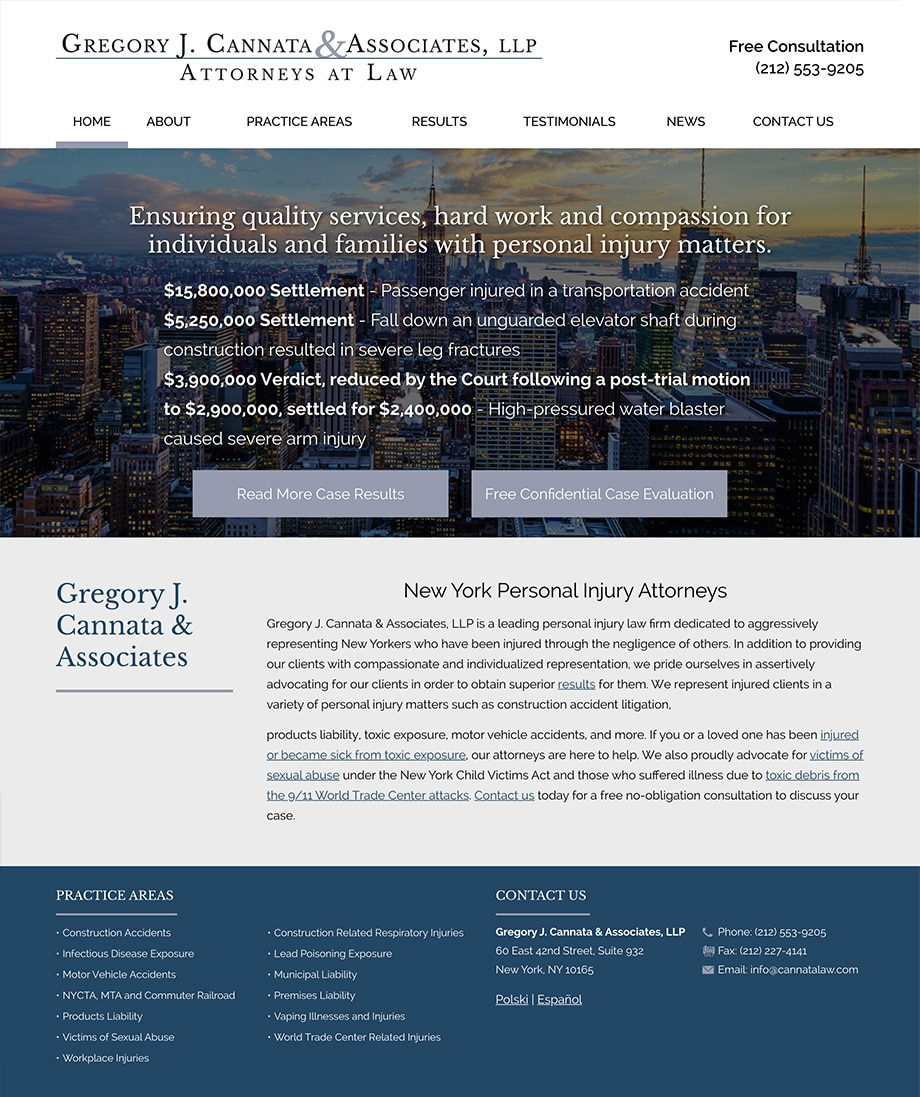Law Firm Website Design for Gregory J. Cannata & Associates