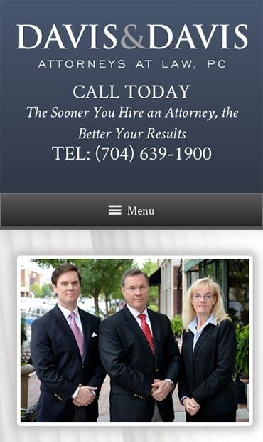 Responsive Mobile Attorney Website for Davis & Davis, Attorneys at Law, PC