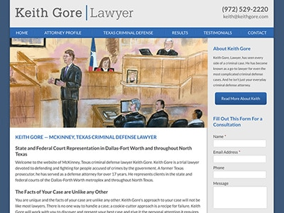 Law Firm Website design for Keith Gore, Lawyer