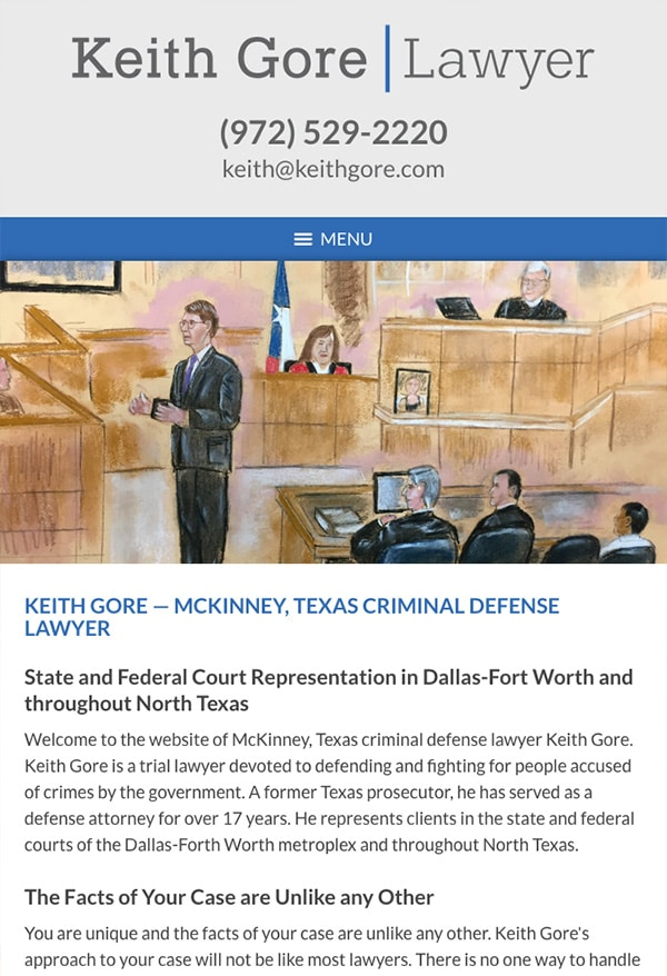 Mobile Friendly Law Firm Webiste for Keith Gore, Lawyer