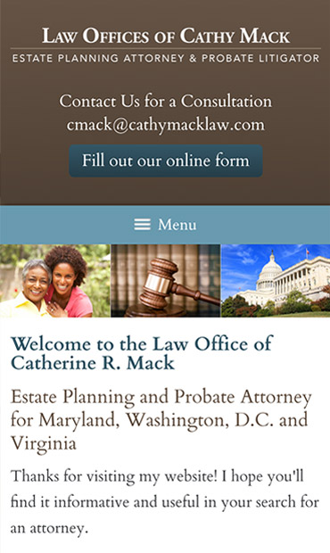 Responsive Mobile Attorney Website for Law Office of Catherine R. Mack