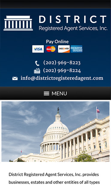 Responsive Mobile Attorney Website for District Registered Agent Services, Inc.
