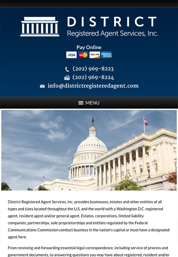 Mobile Friendly Law Firm Webiste for District Registered Agent Services, Inc.
