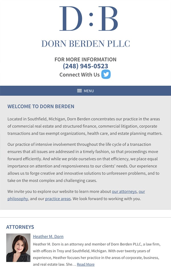 Mobile Friendly Law Firm Webiste for Dorn Berden PLLC