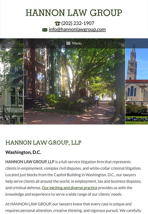 Mobile Friendly Law Firm Webiste for HANNON LAW GROUP, LLP
