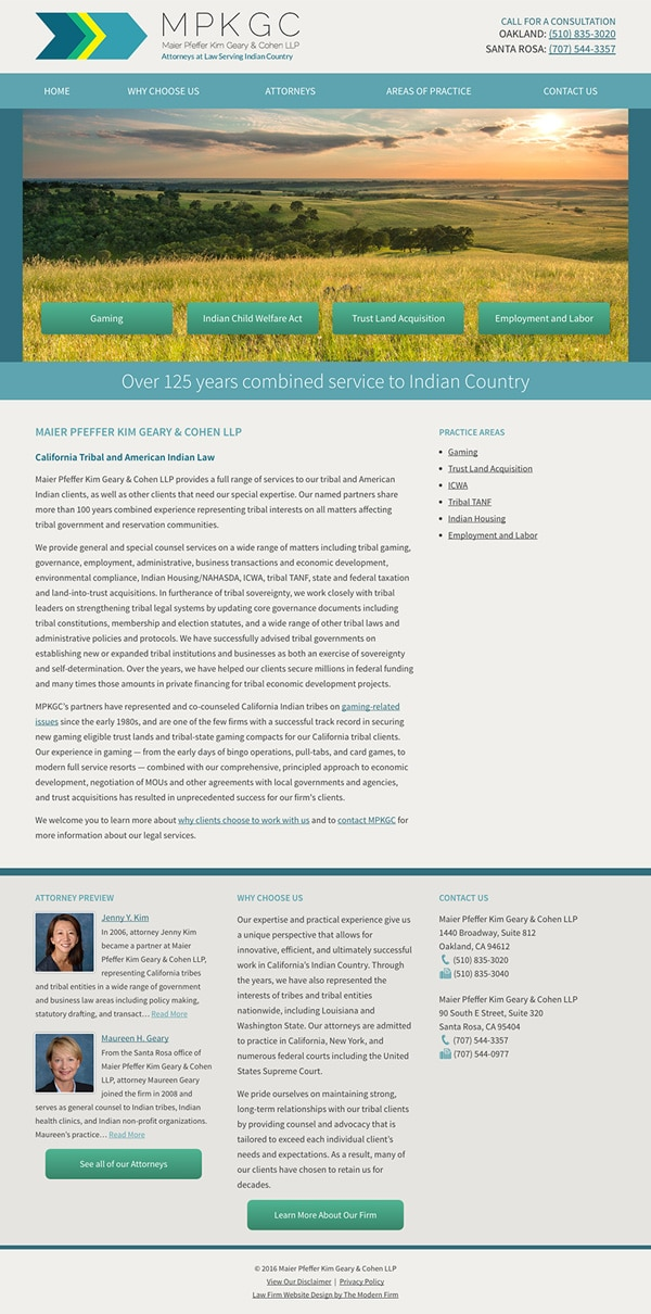 Law Firm Website Design for Maier Pfeffer Kim Geary & Cohen LLP