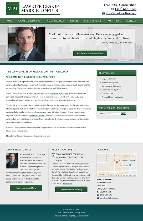 Law Firm Website Design for Law Offices of Mark P. Loftus