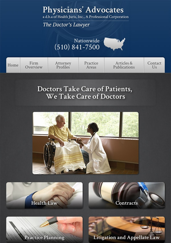 Mobile Friendly Law Firm Webiste for Physicians' Advocates