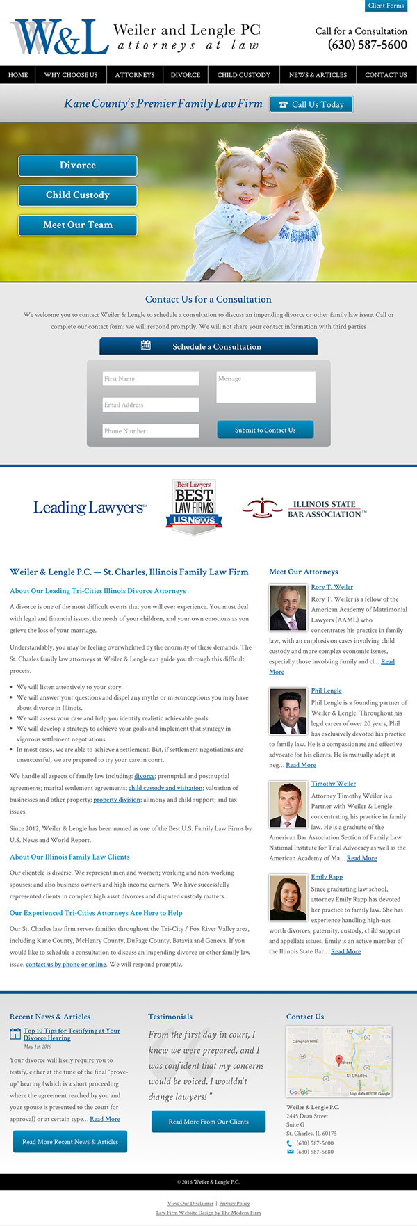 Law Firm Website Design for Weiler & Lengle, P.C.