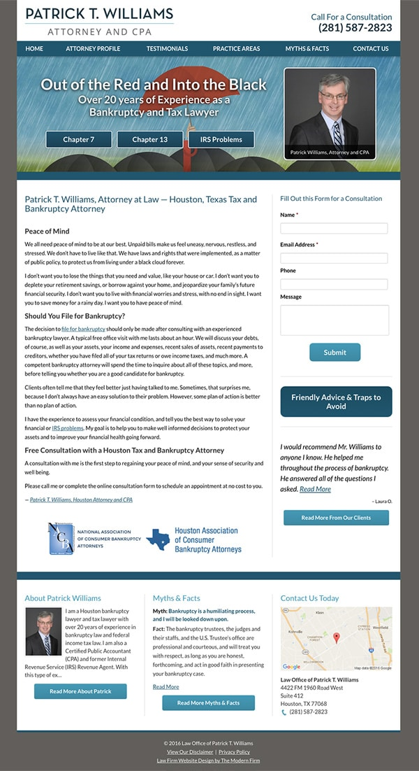 Law Firm Website Design for Law Office of Patrick T. Williams