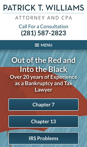 Responsive Mobile Attorney Website for Law Office of Patrick T. Williams