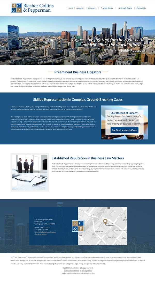 Law Firm Website Design for Blecher Collins & Pepperman P.C.