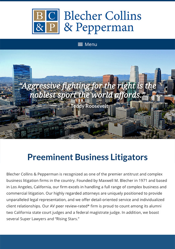 Mobile Friendly Law Firm Webiste for Blecher Collins & Pepperman P.C.