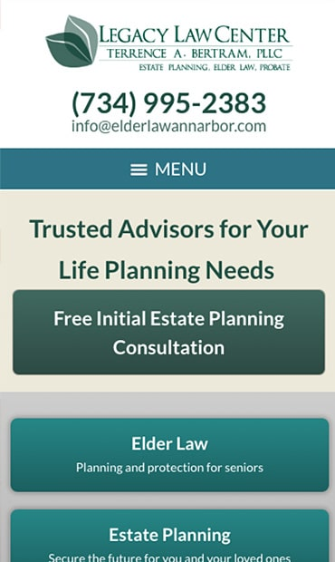 Responsive Mobile Attorney Website for Legacy Law Center