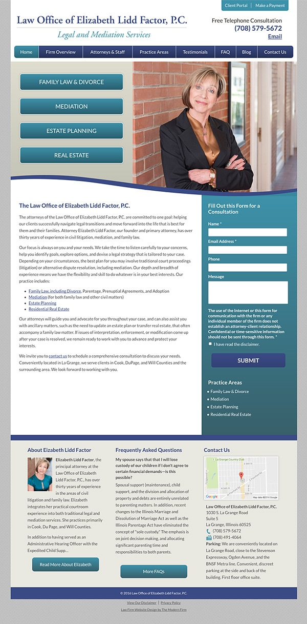 Law Firm Website Design for Law Office of Elizabeth Lidd Factor, P.C.