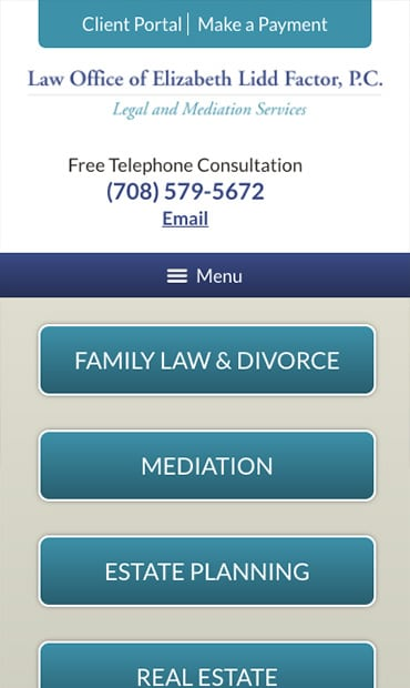 Responsive Mobile Attorney Website for Law Office of Elizabeth Lidd Factor, P.C.