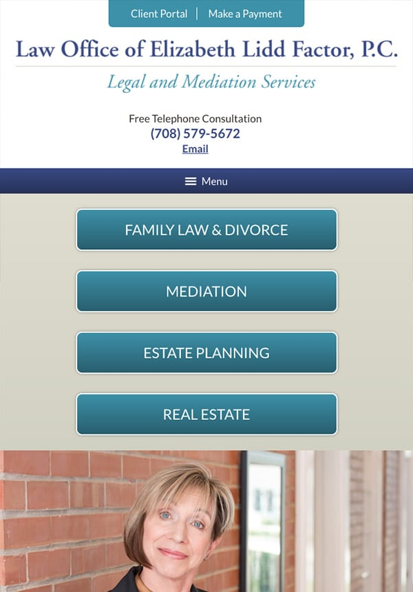 Mobile Friendly Law Firm Webiste for Law Office of Elizabeth Lidd Factor, P.C.