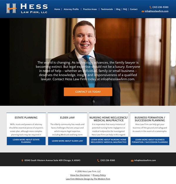 Law Firm Website Design for Hess Law Firm, LLC