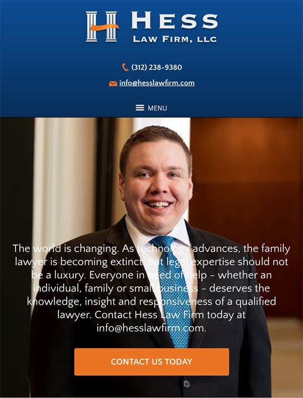 Mobile Friendly Law Firm Webiste for Hess Law Firm, LLC