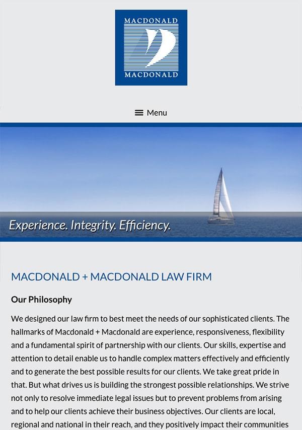 Mobile Friendly Law Firm Webiste for Macdonald + Macdonald