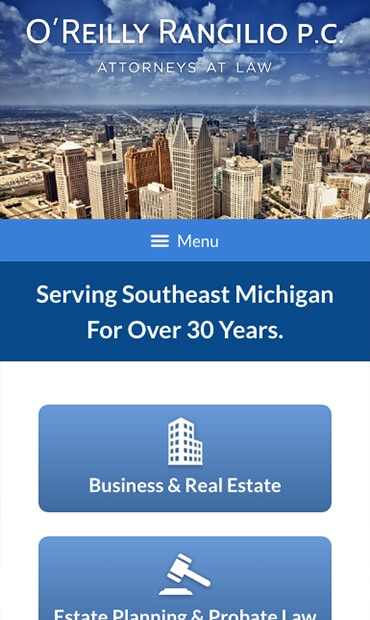 Responsive Mobile Attorney Website for O'Reilly Rancilio P.C.