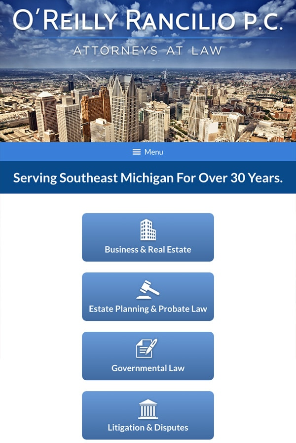Mobile Friendly Law Firm Webiste for O'Reilly Rancilio P.C.