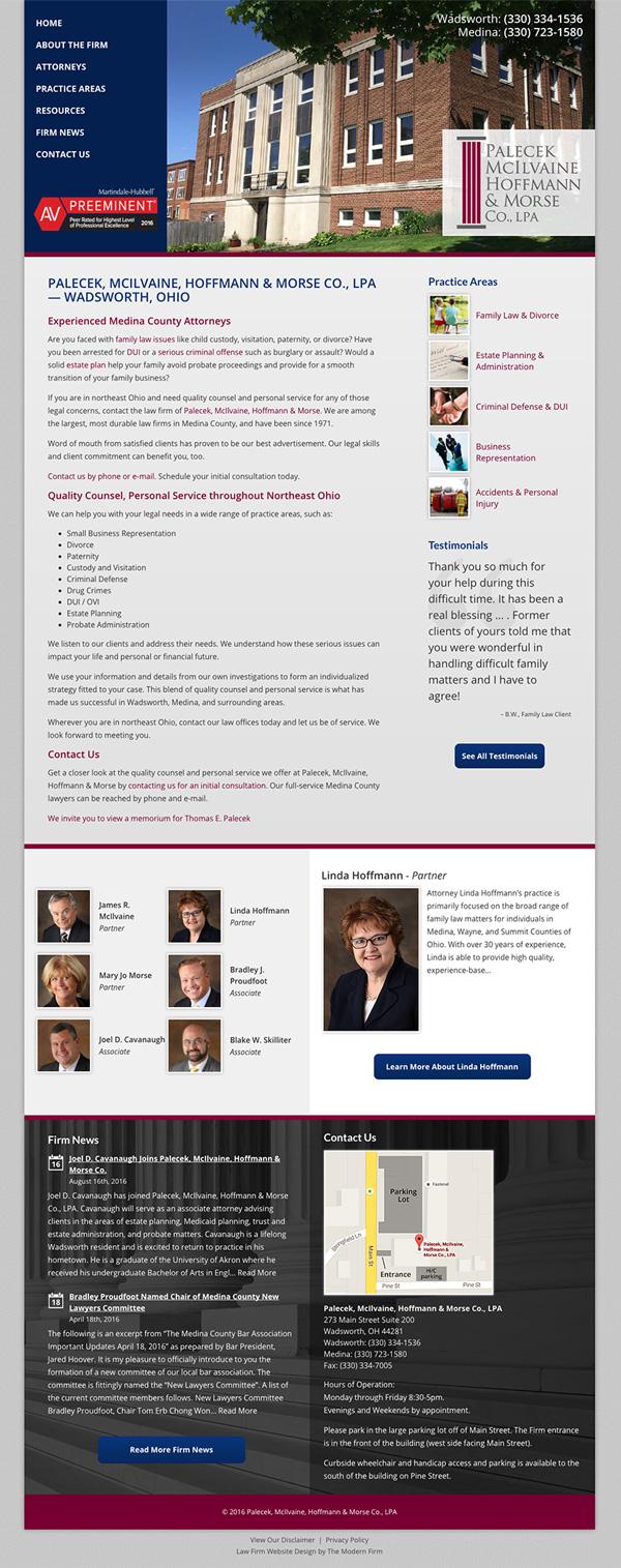Law Firm Website Design for Palecek, McIlvaine, Hoffmann & Morse Co., LPA