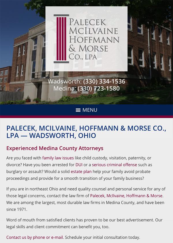 Mobile Friendly Law Firm Webiste for Palecek, McIlvaine, Hoffmann & Morse Co., LPA