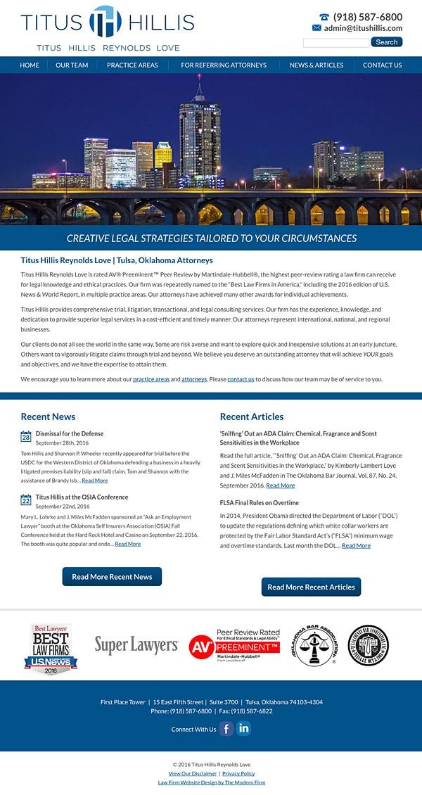 Law Firm Website Design for Titus Hillis Reynolds Love
