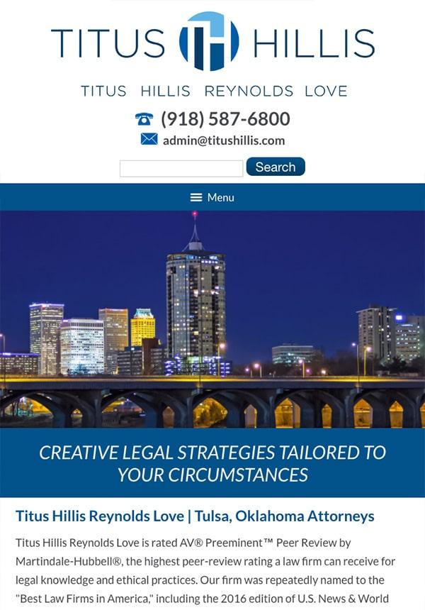 Mobile Friendly Law Firm Webiste for Titus Hillis Reynolds Love