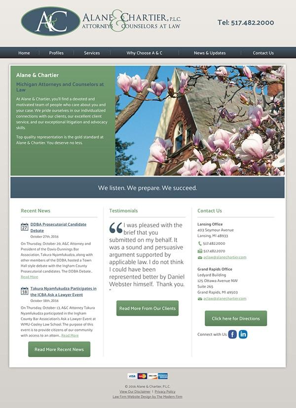 Law Firm Website Design for Alane & Chartier, PLC
