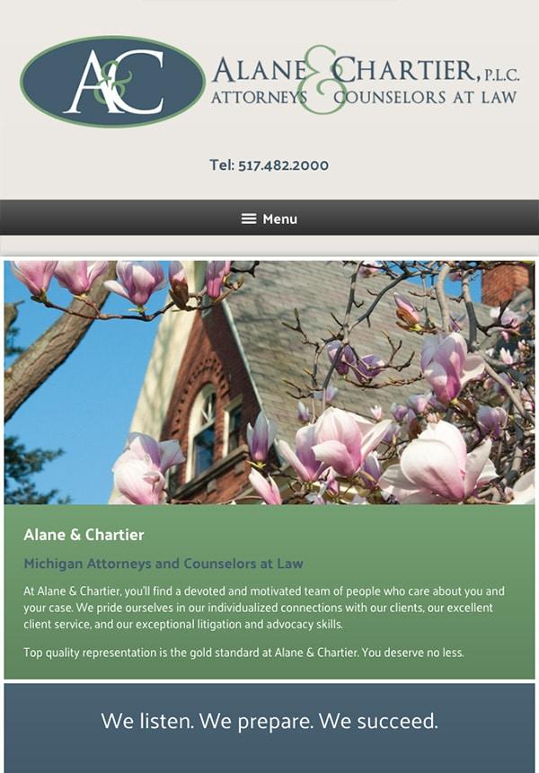 Mobile Friendly Law Firm Webiste for Alane & Chartier, PLC