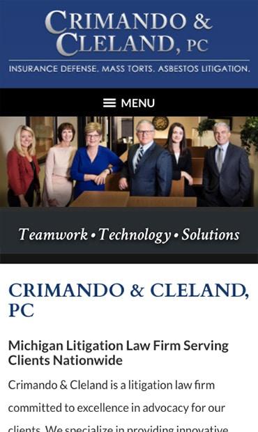 Responsive Mobile Attorney Website for Crimando & Cleland, PC