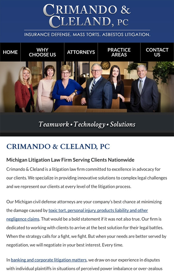 Mobile Friendly Law Firm Webiste for Crimando & Cleland, PC