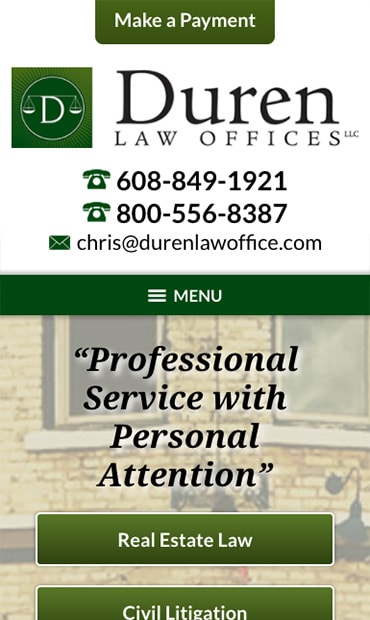 Responsive Mobile Attorney Website for Duren Law Offices, LLC