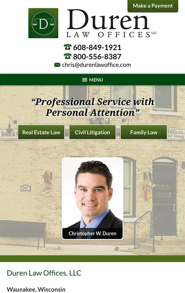 Mobile Friendly Law Firm Webiste for Duren Law Offices, LLC