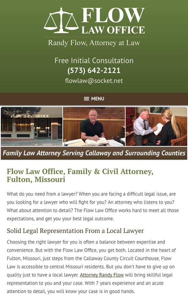 Mobile Friendly Law Firm Webiste for Flow Law Office