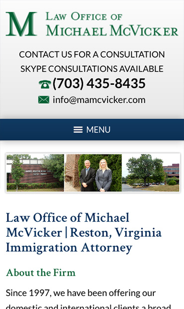 Responsive Mobile Attorney Website for Law Office of Michael McVicker