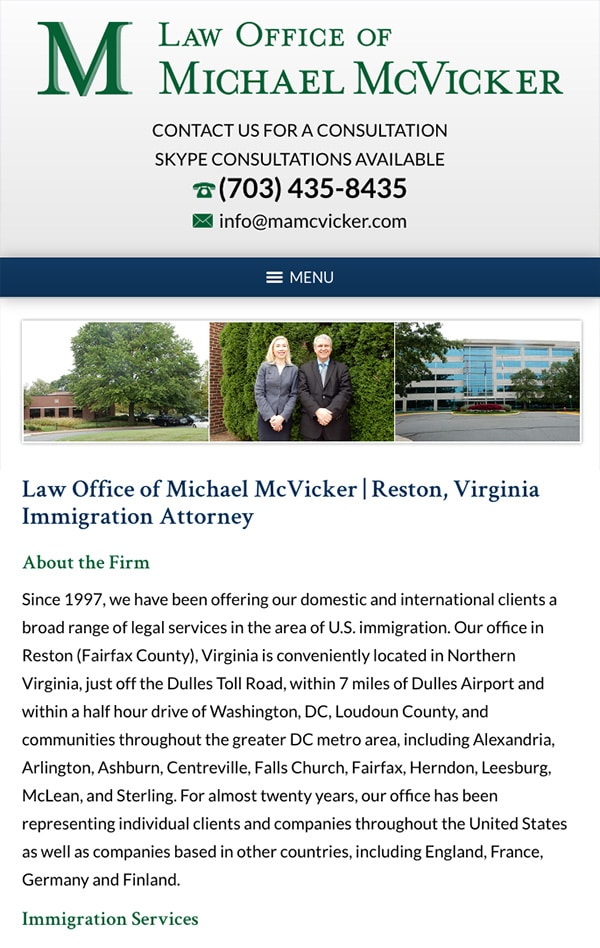 Mobile Friendly Law Firm Webiste for Law Office of Michael McVicker