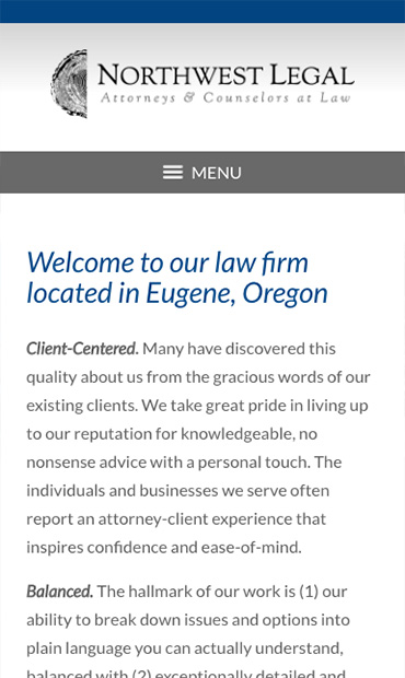 Responsive Mobile Attorney Website for Northwest Legal