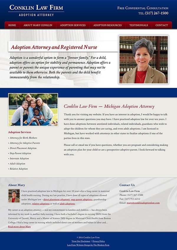 Law Firm Website Design for Conklin Law Firm