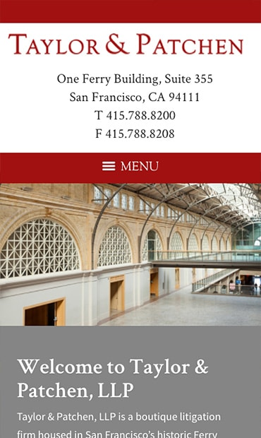 Responsive Mobile Attorney Website for Taylor & Patchen, LLP