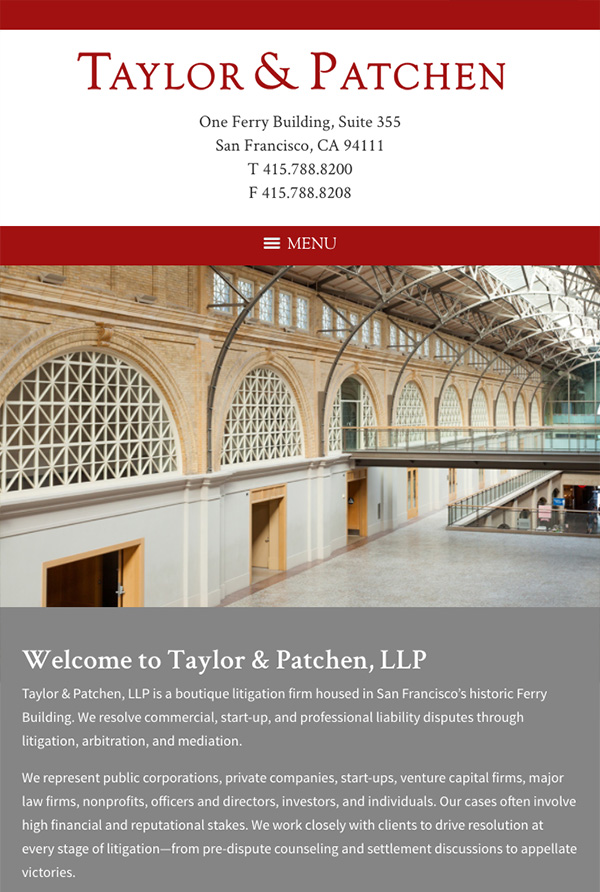 Mobile Friendly Law Firm Webiste for Taylor & Patchen, LLP