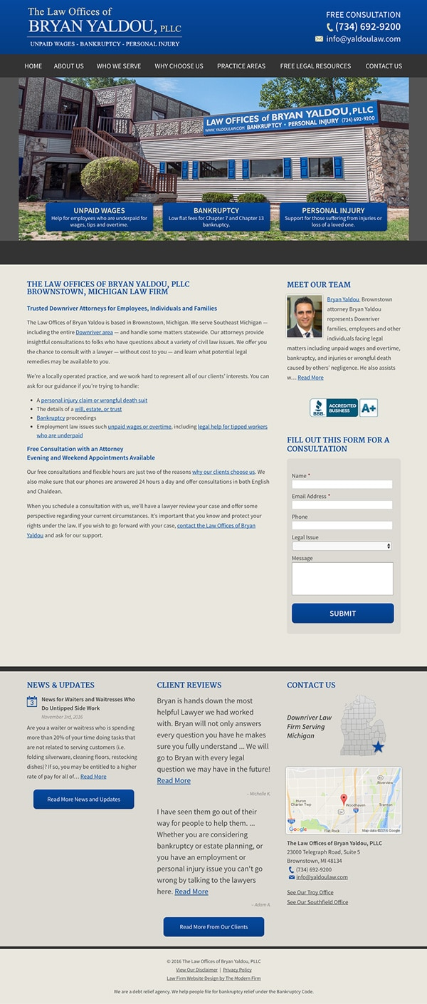 Law Firm Website Design for The Law Offices of Bryan Yaldou, PLLC