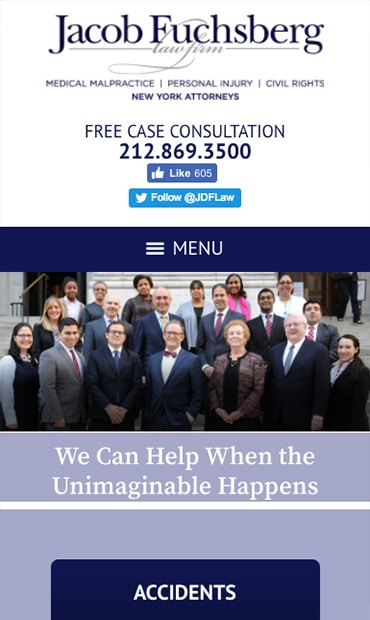 Responsive Mobile Attorney Website for The Jacob Fuchsberg Law Firm