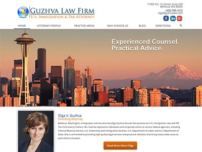 Law Firm Website design for Guzhva Law Firm, PLLC