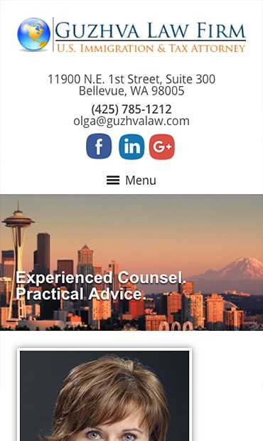 Responsive Mobile Attorney Website for Guzhva Law Firm, PLLC